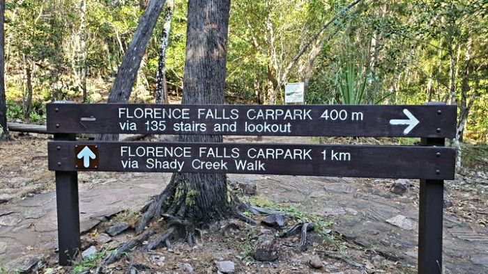 Florence Falls is 135 stairs down from the Florence Falls Campground