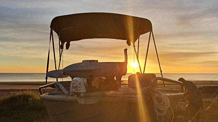 Our friend's boat - Camping at Darwin